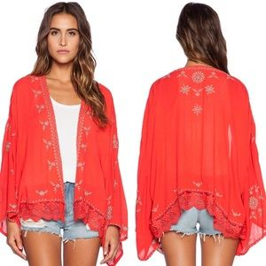 Free People • Red Embroidered Floral Kimono Jacket